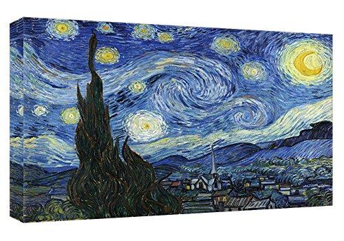 MicktorCo Stampe su Tela Notte Stellata di Vincent Van Gogh della Parete di Arte, pitture a Olio di Alta qualit¨¤ per la Decorazione Domestica (60cm x 90cm) (Unframed)