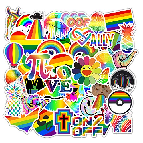 Rainbow Stickers Pack of 50 Gay Pride Lover Stickers for Laptops, Funny Merchandise Laptop Stickers for Laptops, Computers, Hydro Flasks, Skateboard and Travel Case