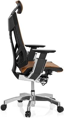 hjh OFFICE 652854 silla de oficina GENIDIA PRO cuero marrón claro, alta calidad, amplios