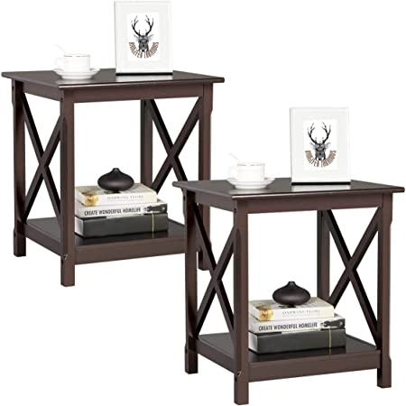 2PCS 3Tier Square Storage Shelf End Table Night Stand Display Living Room Walnut