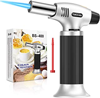 KIMILAR Butane Torch Lighters, Refillable Kitchen Culinary Torch Mini Cooking Blow Torch with Safety Lock & Adjustable Flame for BBQ, Creme Brulee, Baking, DIY Soldering (Butane Gas not Included)