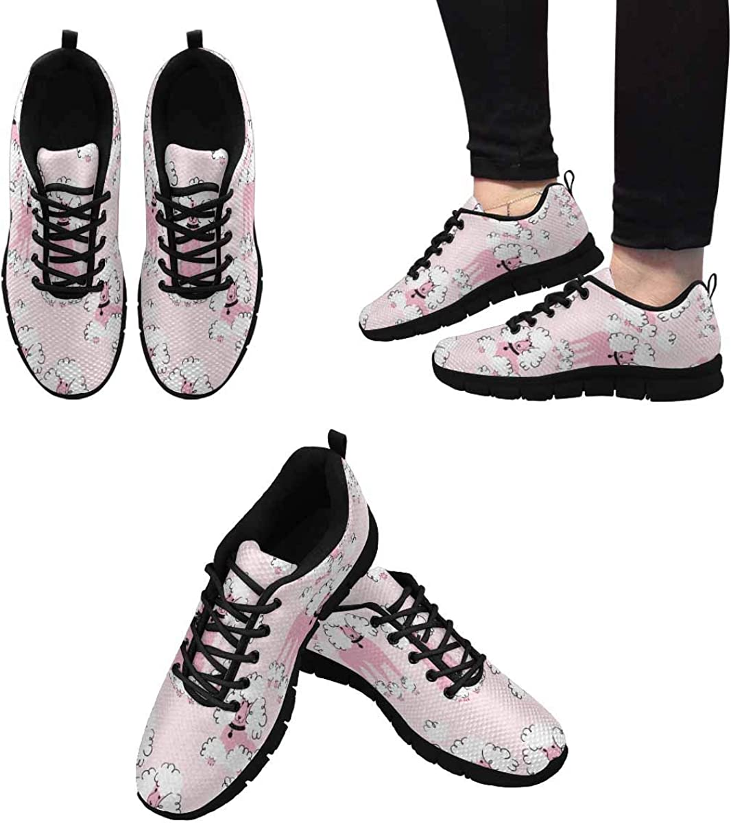 INTERESTPRINT Cute Purebred Dogs Women's Lace Up Breathable Non Slip Sneaker