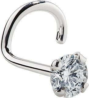 Cubic Zirconia Nose Ring Twist - Nickel-Free 14K White Gold Nose Screw - 1.5mm, 2mm, 3mm Stud 20 Gauge