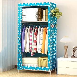 Armoire de Rangement Tissu Penderie Armoire en tissu, armoire portable petite armoire non tissée avec tige suspendue armoi...
