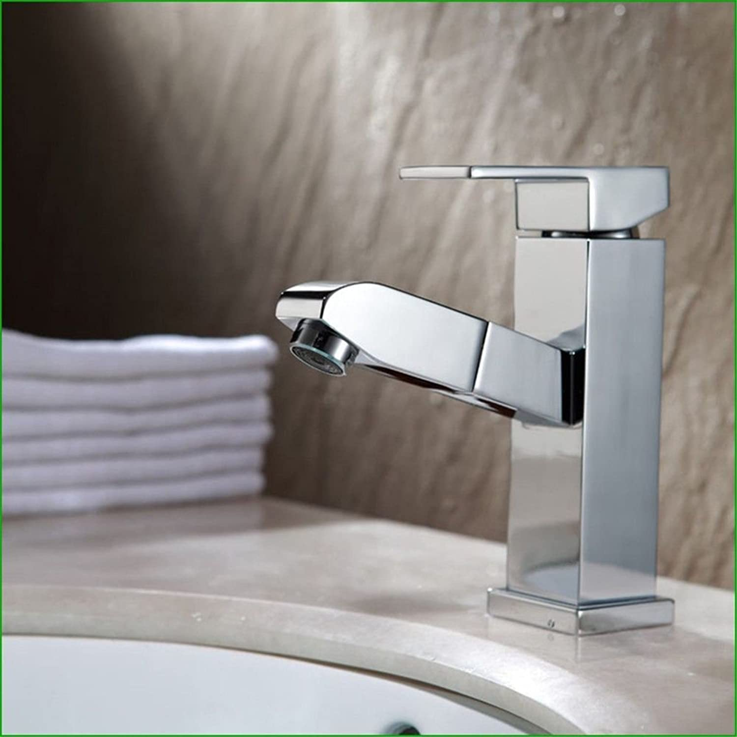 Hlluya Professional Sink Mixer Tap Kitchen Faucet The Brass chrome bathroom sink pull-down faucet hot and cold water basin mixer taps,