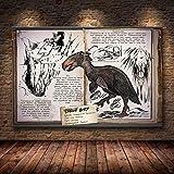 Dinosaure peinture à l'huile jeu en ligne affiche décorative murale papier peint salon décoration