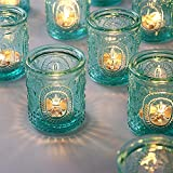 TripodBird 12 PCS Vintage Candle Holders - Glass Candle Holder- Turquoise tealight Candle Holders, Votive Candle Holders Bulk for Gift, Home/ Office/ Table/ Room Decor Aesthetic Vintage, Festival