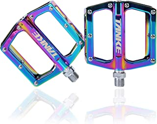 Bllgsea MTB Bicycle Pedals BMX Mountain Bike Metal Pedals Foot Platform Cycling Non-Slip Sealed Bearing Lightweight Ultralight Aluminum Alloy Electroplating Colorful Hollow Bicycle Accessories