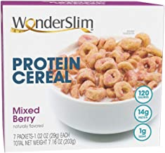 WonderSlim Diet Protein Breakfast Cereal - Mixed Berry (7 Servings/Box) – Healthy Low Fat, Low Calorie, Cholesterol Free C...