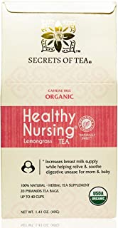 Secrets Of Tea Healthy Lactation Tea for Breastfeeding Moms - Natural USDA Organic Caffeine-Free Nursing Tea for Increased...