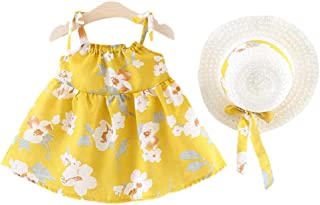Hopscotch Girls Polycotton All Over Floral Print Sleeveless Dress in Yellow Color
