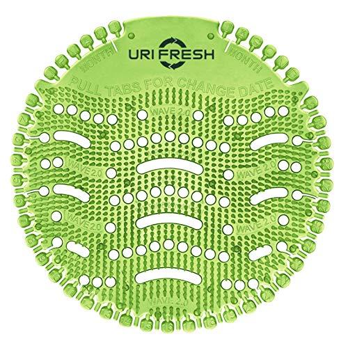 Uri-Fresh 10 Stück Urinalsieb mit 10 Paar Einmalhandschuhe und Wechselindikator - Duft Grüner Apfel
