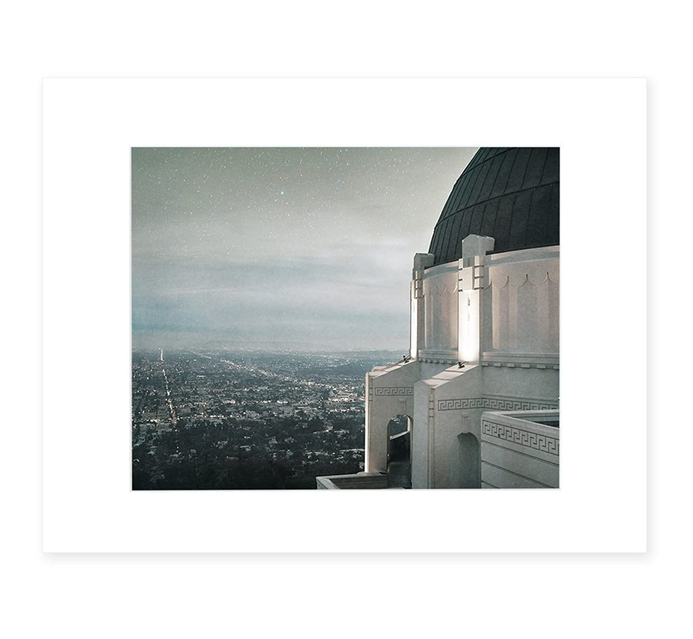Los Angeles City Art Landscape, Griffith Observatory Skyline Urban Wall Decor, 8x10 Matted Photographic Print (fits 11x14 frame), 'The Sky At Night' jgylvpwfvts611
