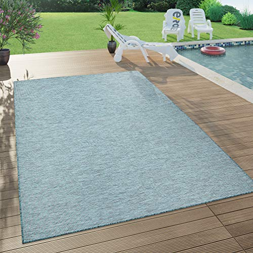 Paco Home In- & Outdoor-Teppich Für Wohnzimmer, Balkon, Terrasse, Flachgewebe, Türkis Petrol, Grösse:120x160 cm