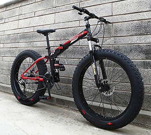 WANG-L Bicicleta De Montaña Plegable De 24/26 Pulgadas para Hombres Mujeres Bicicleta De Nieve para Adultos Cola Suave Neumático Grande Y Ancho De 4 0 Bicicleta ATV MTB,Black-26inchesx17inches