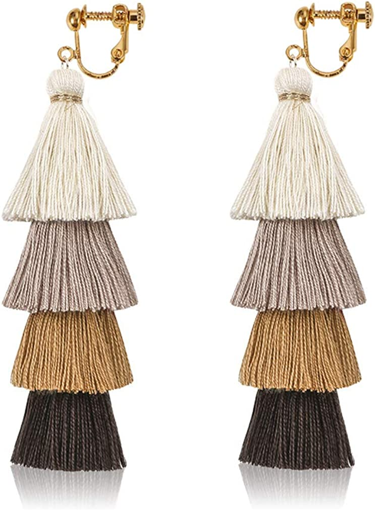 Tassels Thread Gold Plated Clip on Earrings Dangle Black White Tiered Layered for Women Prom