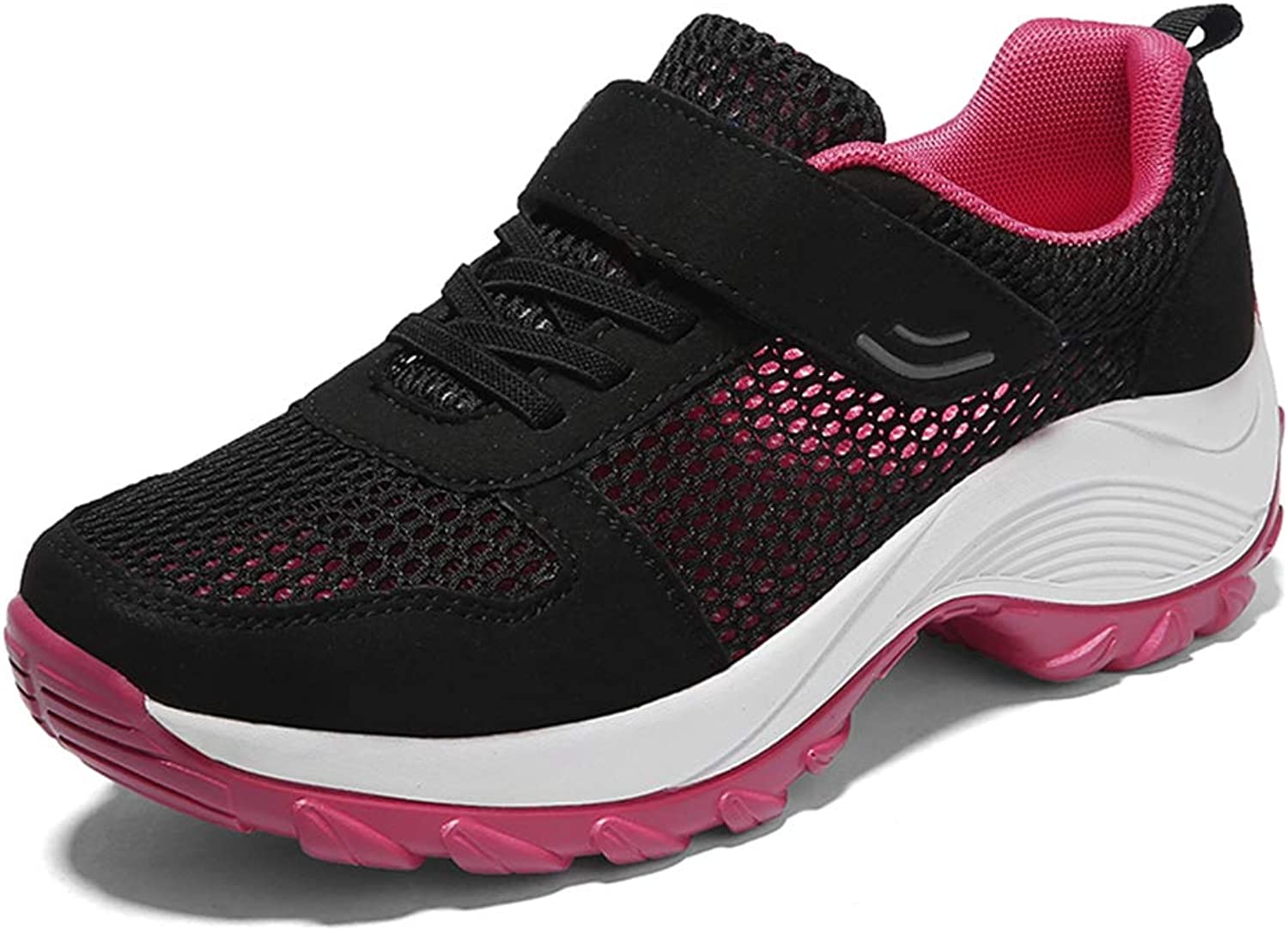 Casual Breathable Shallow Mesh Hook and Loop Wedge shoes Woman Fashion Lightweigh Soft No-Slip Female Sneakers for Dancing