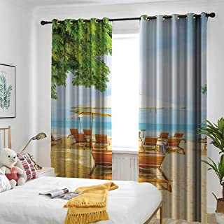 Seaside Decor Collection Thermal Insulated Blackout Curtains Umbrella and Chairs on Tropical Beach Summer Vacation Destination Image Print Great for Living Rooms & Bedrooms 72