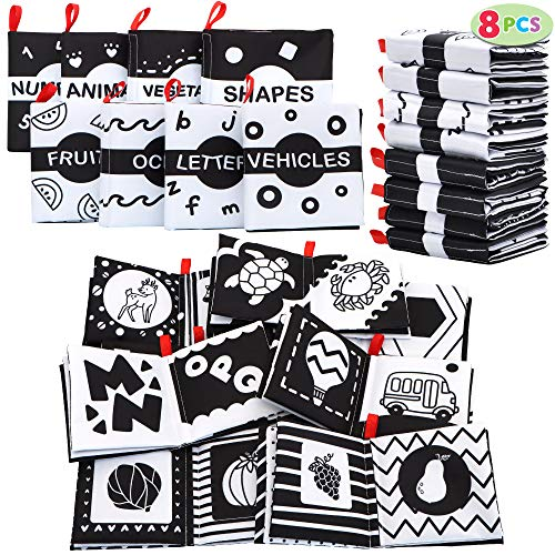JOYIN 8 Packs Soft Baby Books, Black and White High Contrast Nontoxic Fabric Baby Crinkle Cloth Books, Early Educational Toys for Infants Babies, Baby Girl & Baby Boy Gift