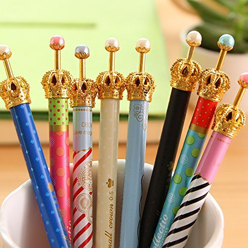 MiiSii(TM) 8pcs Cute Novelty Cartoon Gold Crown Metal 0.5mm HB Refill Mechanical Pencils Set Gifts Prizes For School Kids Students + FREE GIFT
