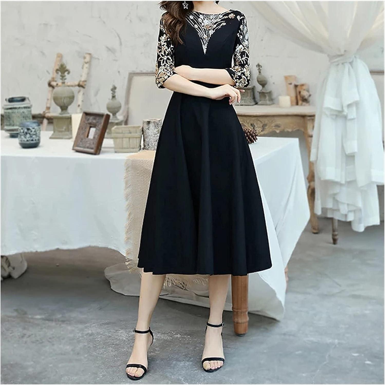 ZZABC Black Cocktail Dresses Elegant O-Neck Tea Length Dresses Women Party Night with 3/4 Sleeves (Color : Black, Size : 12)
