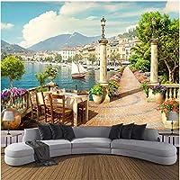 Lcymt カスタム壁画ガーデンバルコニー湖の風景写真壁紙リビングルーム寝室ダイニングルームの装飾壁画-350X250Cm