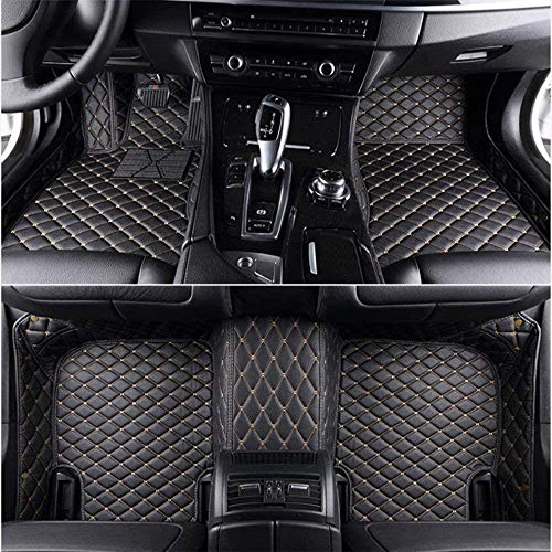 HIZH Vloermatten voor BMW X5 E53 E70 F15 F85 X6 X7 X1 E84 F48 X2 F39 X3 E83 F25 X3 G01 F97 X4 F26 G02 F98 Automatten Leer Past op vloerkleden in vloerkleden, zwart Wit