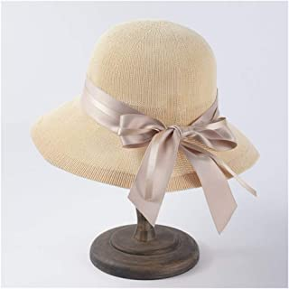 ZiWen Lu Spring and Summer Knit hat Bow Straw Simple Wild Lady Wide Visor Dome Bowl Cap Fisherman hat (Color : Beige)