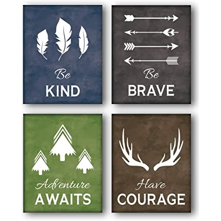 Amazon Com Lhiuem Inspirational Quotes Art Print Typography Cardstock Motivational Saying Cave Adventure Poster Watercolor Bear Animal Picture Paw Arrow Artwork For Kid Bedroom Wall Decor Set Of 4 8 X 10 Unframed Posters Prints