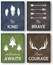 """Unframed Be Kind-Be Brave Quotes Inspirational Art Print, Deer Horn, Trees, Feather,Arrow Painting, Set of 4(8"""" x10"""" )Canvas Abstract Posters For Kids Room Classroom Decor"""