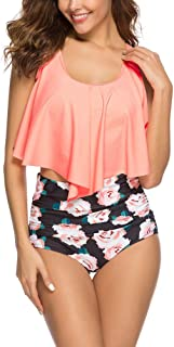 Swimsuit for Women Two Pieces Bathing Suits Top Ruffled Racerback Swimwear with High Waisted Bottom Tankini Set