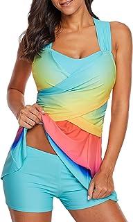 ENLACHIC Women Plus Size Surf Swimwear Rash Guard Swim Capris Tankini Swimsuit S-5XL
