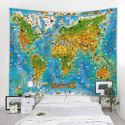 AdoDecor Tapiz de Mapa del Mundo Animal de Estilo nórdico, Tapiz de poliéster para Colgar en la Pared, Toalla de Playa, Manta Fina de poliéster, mantón de Yoga, Esterilla 150x200cm/59 * 79inch