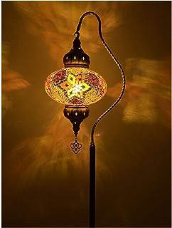HFTD Lampes sur Pied Lampadaire de Style Turc, Abat-Jour en Verre teinté, lampadaire Vintage sur Pied pour Salon, canapé, ...