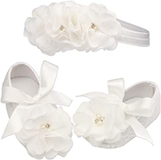 """""""Petals"""" Light Ivory Lace Baptism Christening Shoe and Headband Set for Baby Girl (Size 1)"""