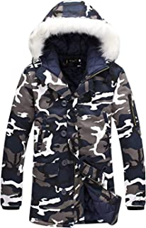 Tanming Men's Winter Warm Faux Fur Collar Hooded Camo Cotton Coat Parka Jacket