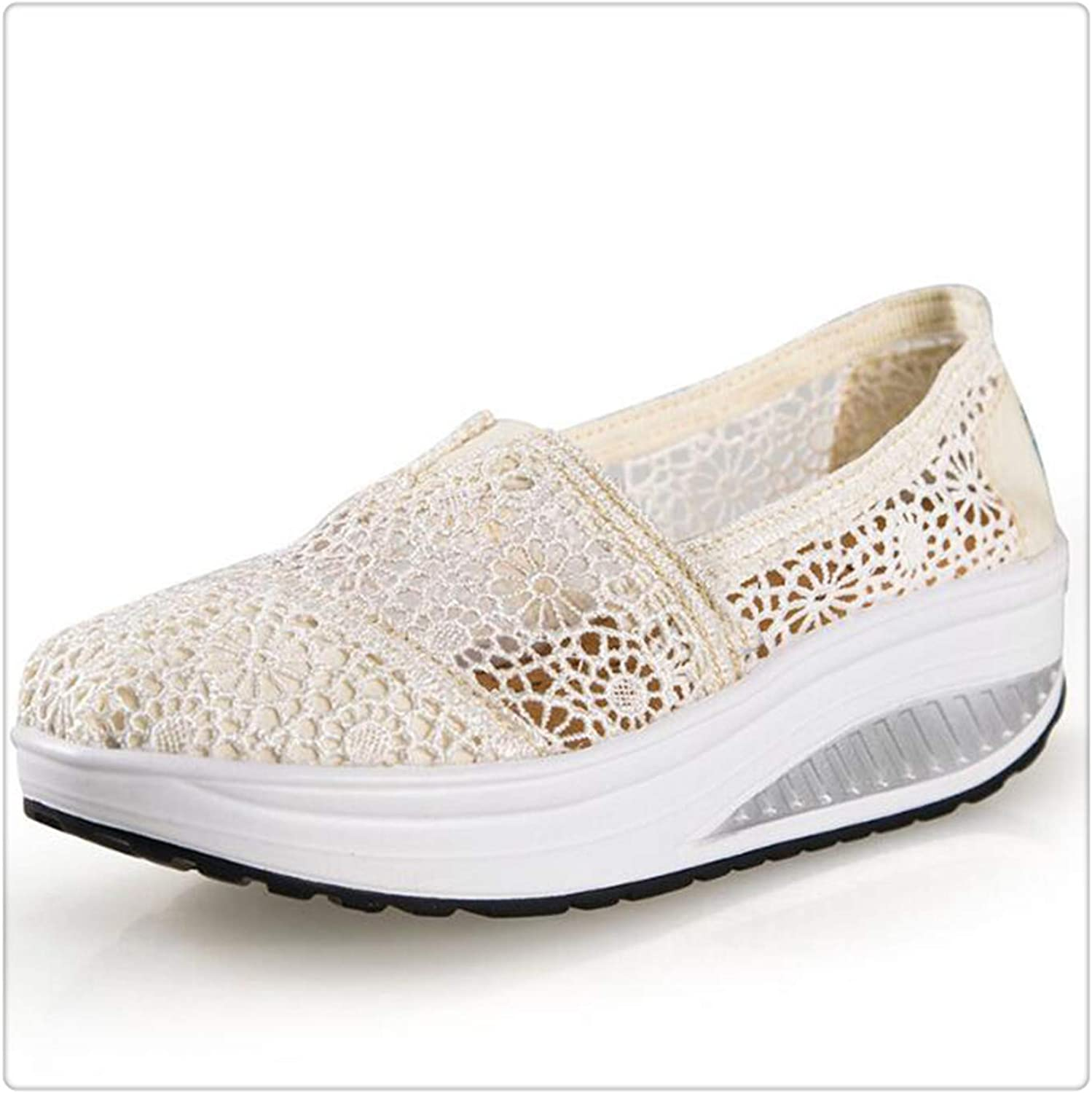 HANGGE& Women Casual shoes 2017 Spring Summer Breathable lace Canvas shoes Women Platform Slip-on Solid Wedges shoes Beige 6