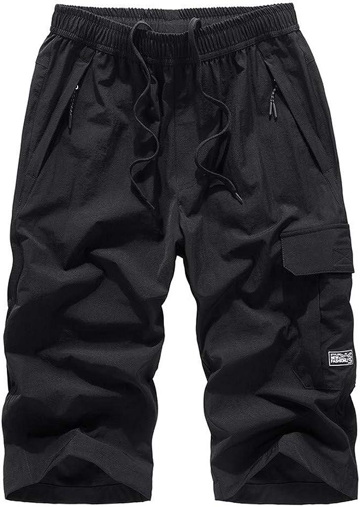 DIOMOR Mens Big Tall Beach Shorts Below Knee Drawstring Swim Trunks Solid Color Elastic Waist Long Board Shorts Capri