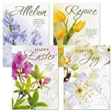 Deluxe Joy Religious Easter Greeting Cards - Set of 8 (4 designs), Envelopes Included, Inspiring Bible Messages for Christians and Catholics, 5 Inches x 7 Inches