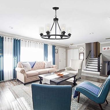 MELUCEE 6-Light Chandeliers for Dining Room, Farmhouse Lighting Black Light Fixtures Ceiling Hanging Industrial Pendant Light