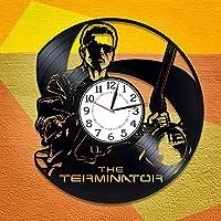 ターミネーター壁掛け時計映画オリジナルの家の装飾アーノルドシュワルツェネッガーファンのための手作り時計ターミネータービニールレコード壁掛け時計ターミネーター誕生日