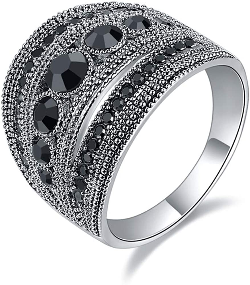Retro Black Geometric Vintage Rings Big Marcasite Cluster Cocktail Statement Ring for Women