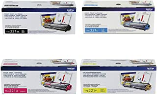 Brother TN-221BK TN-221C TN-221M TN-221Y DCP-9015 9020 HL-3140 3150 3170 3180 MFC-9130 9140 9330 9340 Toner Cartridge Set (Black Cyan Magenta Yellow, 4-Pack) in Retail Packaging