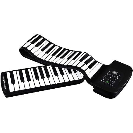 ammoon 88 Keys - Piano Portátil 88 Teclas de Silicona Flexible Enrollable con Batería, Pedal de Sostenido, Negro