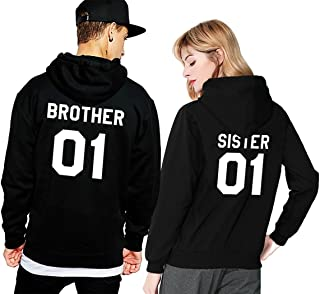 Matching Couple Fleece Hoodie Brother Sister His Her Winter Valentines Lovers Gift Set 2 Pack Hooded Sweatshirt Pullover