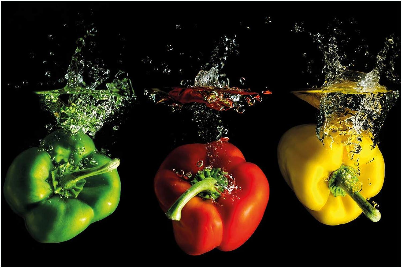 Wallario Acrylglasbild Bunte Küche Paprika in rot gelb Orange und grün im Wasser - 60 x 90 cm in Premium-Qualitt  Brillante Farben, freischwebende Optik