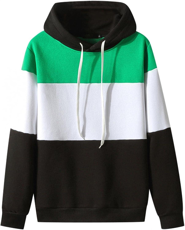 Men's Sweatshirts Cozy BlockColor Fashion Mens Athletic Hoodies Loose Long Sleeve Pullover Sports Sweatshirt Tops