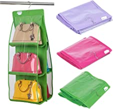 House of Quirk 6 Pocket Handbag Storage Hanging Purse Organizer - Green