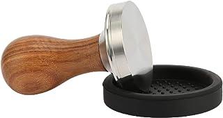 Tamper à café 51 mm, 53 mm, 58 mm, presse-café à expresso en acier inoxydable avec manche en bois et soucoupe en silicone ...