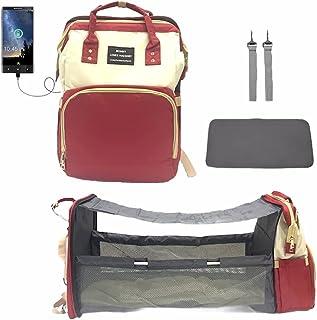 حقيبة حفاضات سرير بيبي مامي من 2 في 1 باللون الأبيض والأحمر